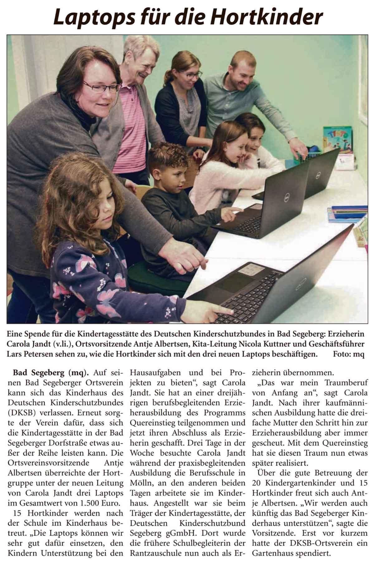 Laptops für die Hortkinder